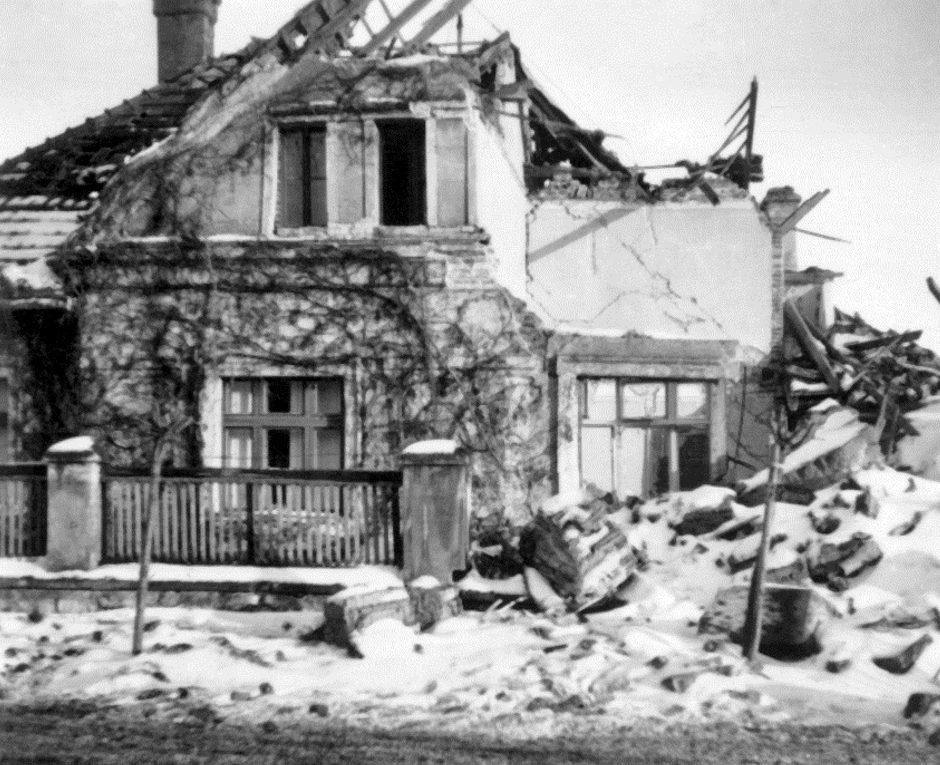 Результаты ковровой бомбардировки союзников. Нитра, 26 марта 1945 г.