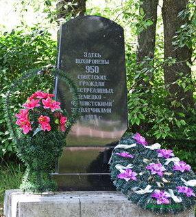 д. Малые Воробьевичи Новогрудского р-на. Памятник, установленный на братской могиле, в которой похоронено 950 узников Любчанского гетто.