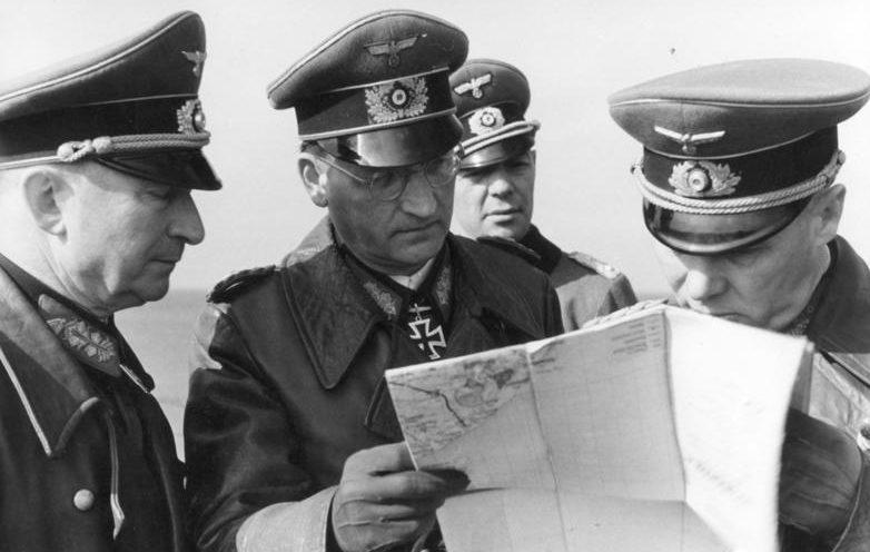 Rommel, Lang, Spiedel, Sinhyuber.  Pas de Calais.  Franciaország.  1944. április