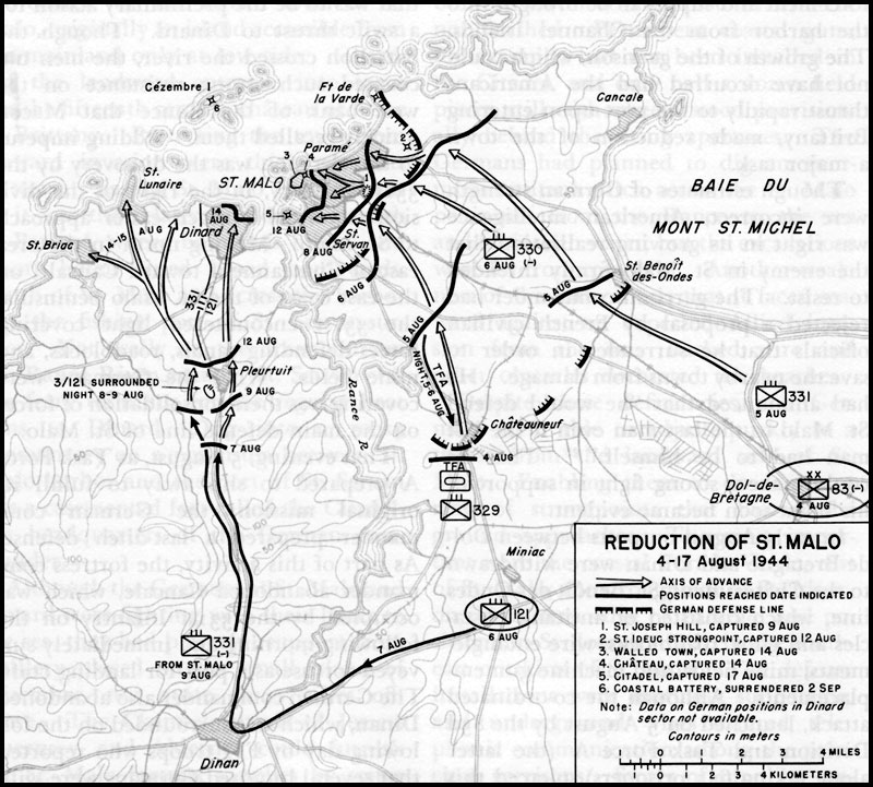План захвата союзниками крепости Сен-Мало.