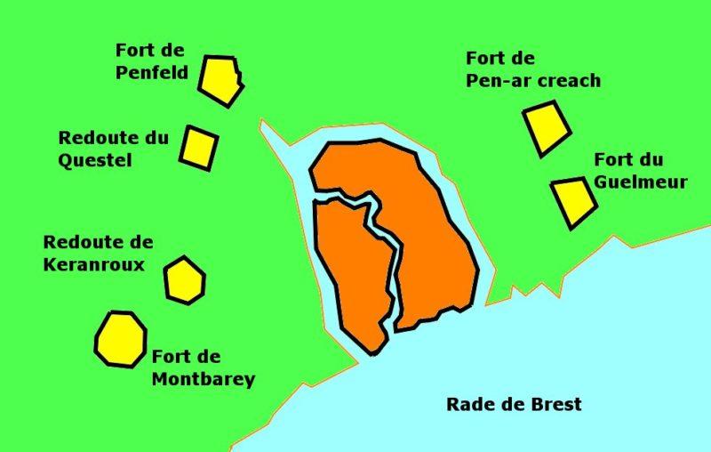 Схема расположения отдельных фортов, вокруг Бреста.
