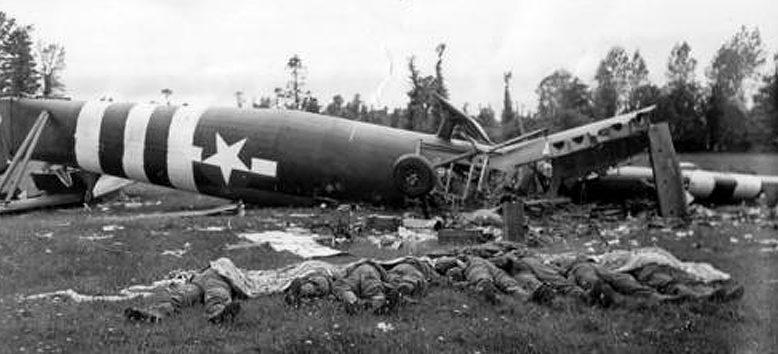 A szövetséges vitorlázó repülőgép leszállásának következményei.  1944 g.
