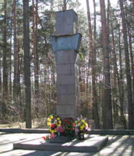 г. Скидель Гродненского р-на. Памятник у больницы, установленный на братской могиле, в которой похоронено 6 советских воинов.