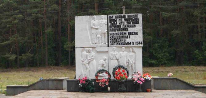 г. Скидель Гродненского р-на. Памятник у больницы, установленный на братской могиле, в которой похоронен 31 советский воин.