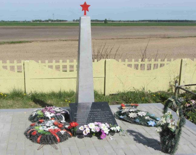д. Стрельцы Гродненского р-на. Братская могила, где захоронено 9 советских воинов, из них 5 неизвестных.