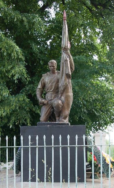 д Луки Жлобинского р-на. Памятник воину-освободителю на братской могиле в центре деревни.