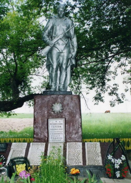д. Октябрь Жлобинского р-на. Памятник, установленный в 1958 году на братской могиле, в которой похоронено 175 воинов 130 стрелковой дивизии 48 Армии 39-го, 431-го, 470-го, 664-го стрелковых полков, погибших при освобождении района от немецко-фашистских захватчиков в Великой Отечественной войне.
