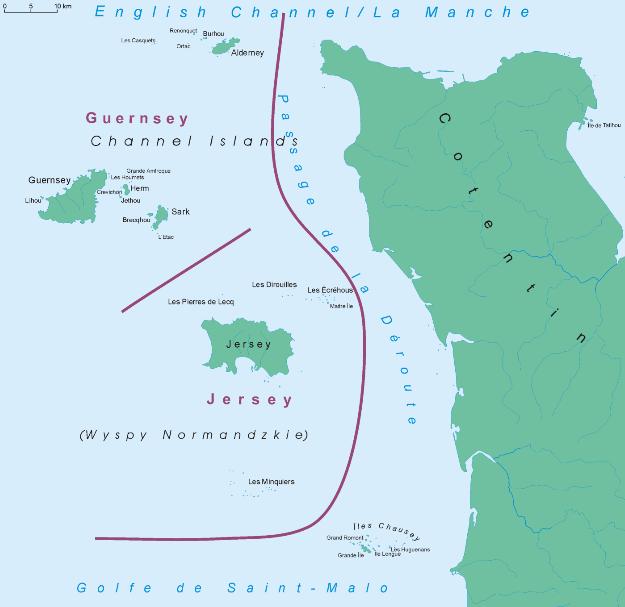 Карта расположения Нормандских островов.