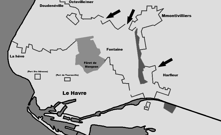 План-схема крепости Гавр. 1944 г.