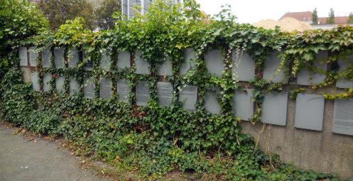 г. Брауншвейг. Памятная стена на месте концлагеря Шиллштрассе, в котором содержалось 2 тысячи заключенных, из которых погибли 600 человек.