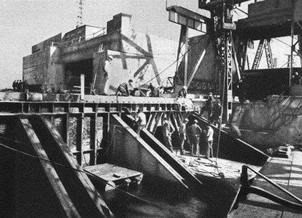 Строительство бункера в порту.