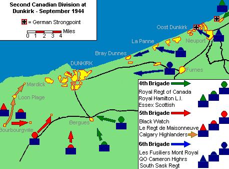 Карта-схема наступления союзников на Дюнкерк.