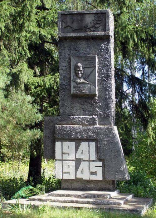 д. Новоселки Дятловского р-на. Памятник Белушу М.А., повторившему подвиг Матросова.