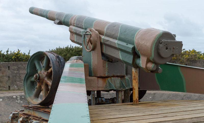 150-мм французское орудие на позиции.