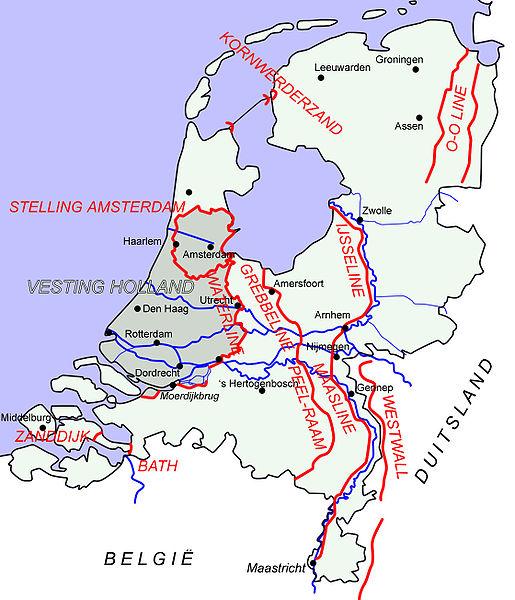Схема основных голландских линий обороны.