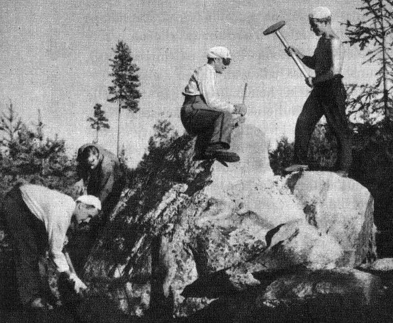 Добровольные финские каменотесы на укреплении Карельского перешейка. Лето 1939 г.