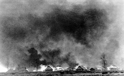 Горит пригород Умани. Август 1941 г.