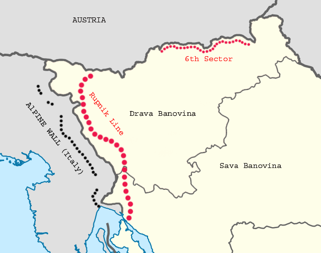 Карта расположения оборонительной линии.