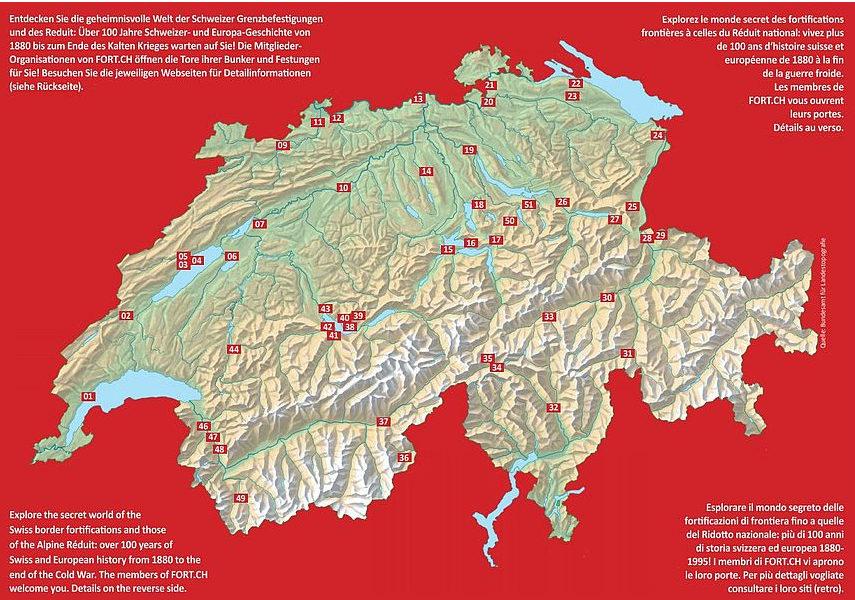 Карта размещения фортов Национального редута.