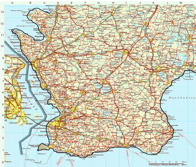 Карта расположения Сконской линии.
