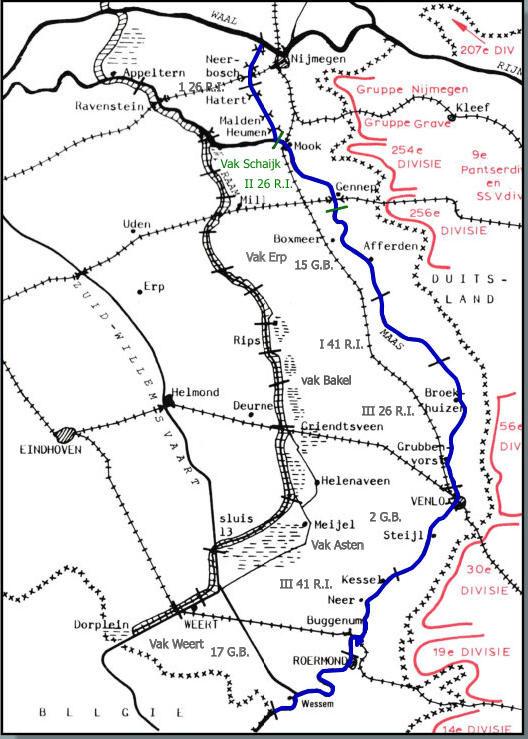 Карта-схема расположения войск на Маас-линии. Синий цвет – линия, красный цвет – немецкие войска.