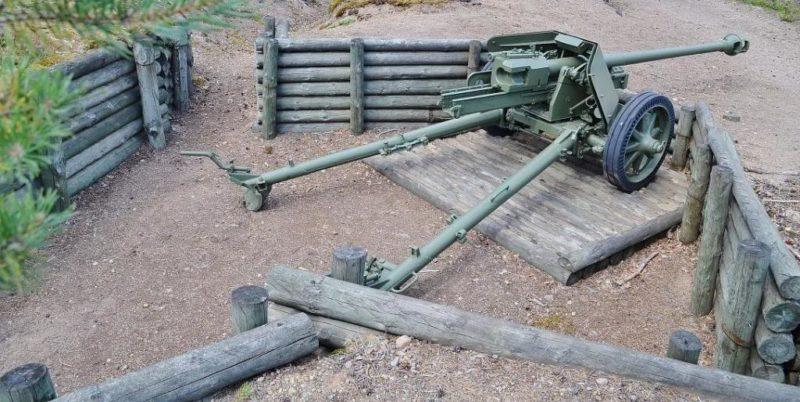 Полевое орудие на открытой позиции.