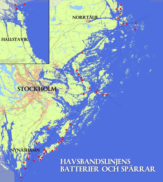 Карта размещения береговых батарей Стокгольмского архипелага.