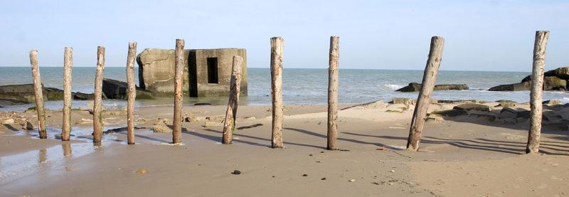 Остатки сооружений батареи на берегу.
