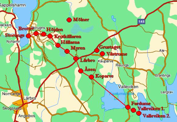 Карта-схема расположения опорных пунктов линии.