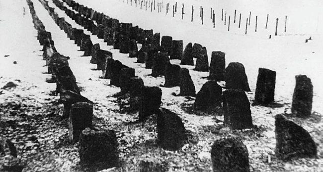 Противотанковые препятствия на линии Маннергейма. Декабрь 1939 г.