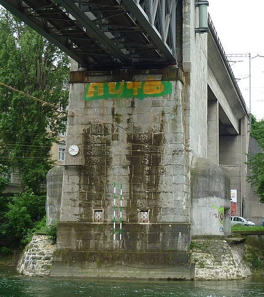 Четырехамбразурный ДОТ у опоры моста.