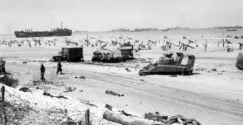 Береговая полоса плацдарма «Омаха». Утро 6 июня 1944 г.