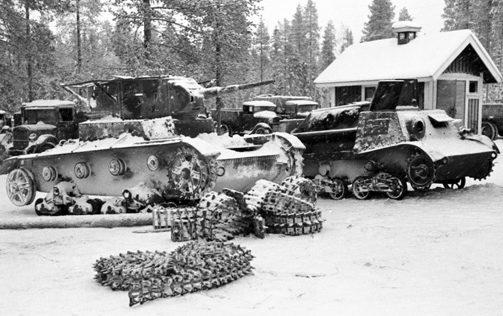 Советская техника проходит восстановление у финнов. Январь 1940 г.
