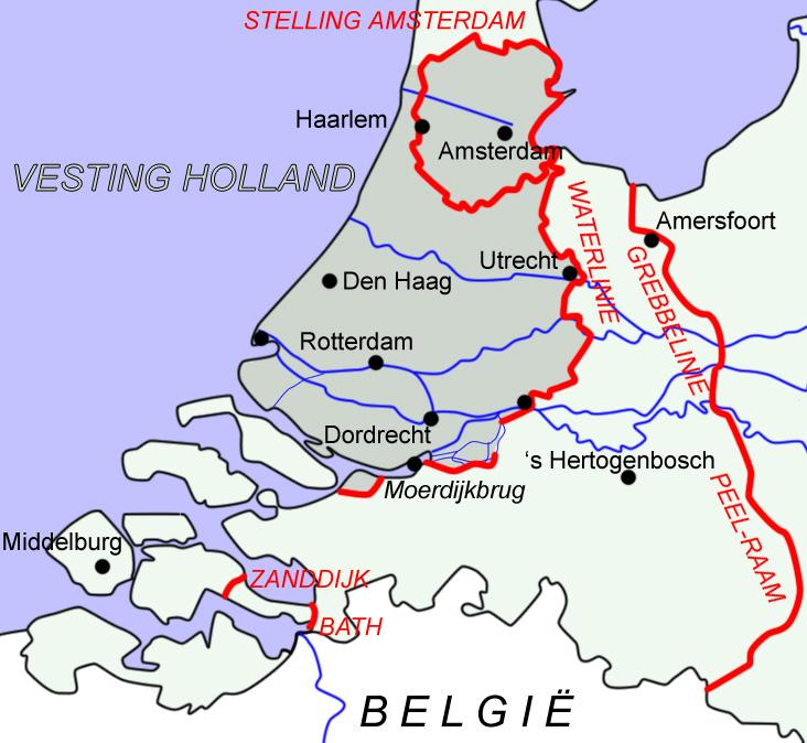 Схема оборонительной линии «Крепости Голландии»