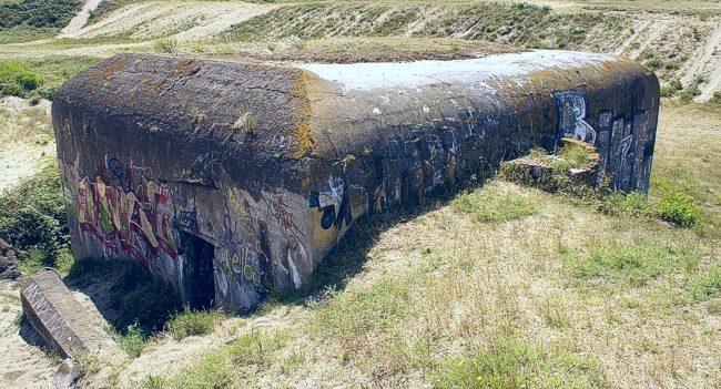 Зенитная позиция на бункере Fl242.