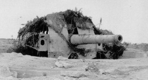 280-мм орудие на открытой позиции.