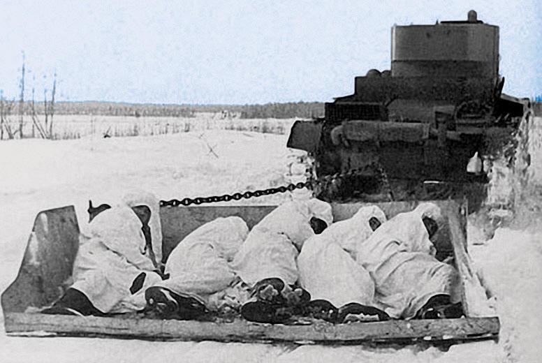 На бронированных санях в наступление на финнов. Февраль 1940 г.