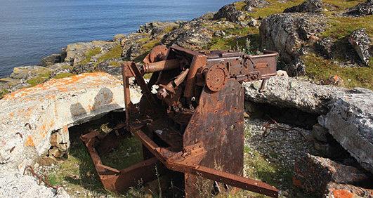 Остатки корабельного орудия сегодня.