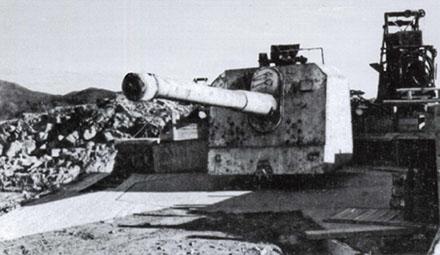 Башня со 150-мм корабельным орудием.