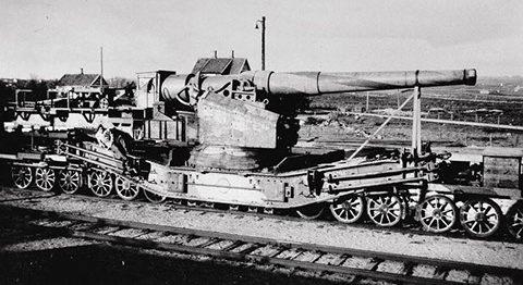 Железнодорожная батарея 240-мм орудий.
