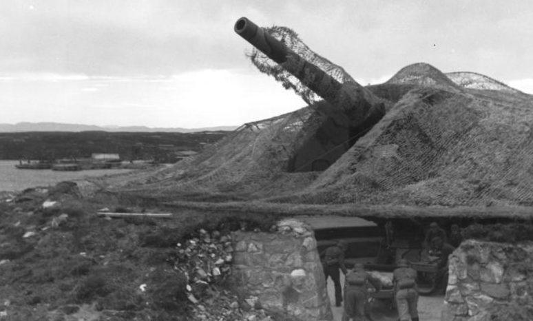 Позиция 283-мм орудия в годы войны и сегодня.