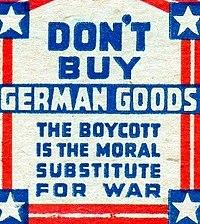 Этикетки спичечных коробок, выпущенные Негосударственной антинацистской лигой в защиту прав человека для рекламы антинацистского бойкота 1933 года.