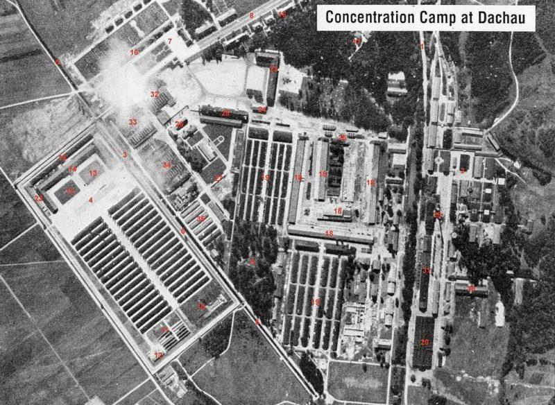 Аэрофотосъемка лагеря Дахау.
