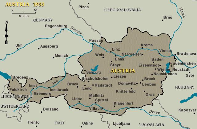 Карта Австрии в 1933 году.