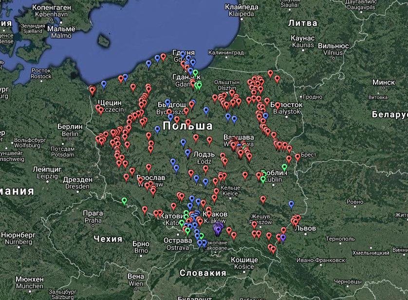 Карта оборонительных сооружений Польши (320 единиц), сохранившихся до наших дней. Объекты обозначены красным цветом. Зеленым цветом обозначены разрушенные сооружения.