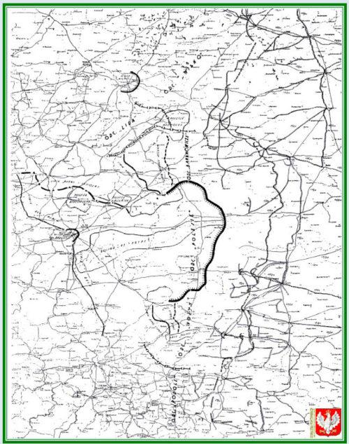 Карта-схема укреплений на восточной границе Польши на 1939 год. В центре – «Оdcinek Polesie».