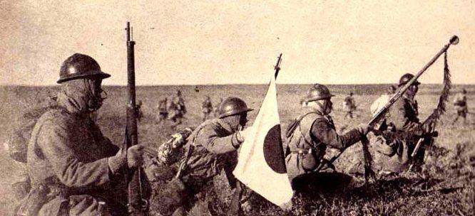 Наступление японской пехоты.