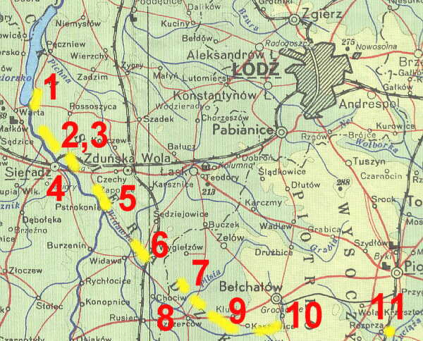 Карта размещения опорных пунктов линии «Варта и Видавка».