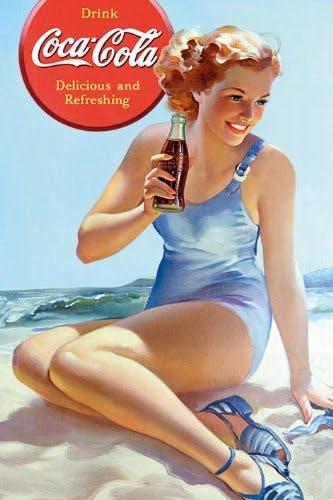 Эволюция рисунков «рin-up» с Coca Cola.