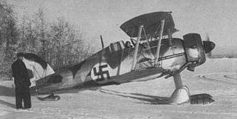 Истребитель Gloster Gladiador Mk. I. шведского добровольческого авиаполка в Финляндии. Январь 1940 г.